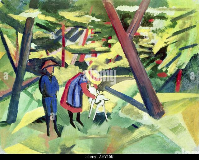 """""""Fine Arts, Macke, August (1887 ? 1914), Malerei,""""Kinder Mit Ziege Im Wald"""", (""""Kinder mit Ziege Stockbild"""