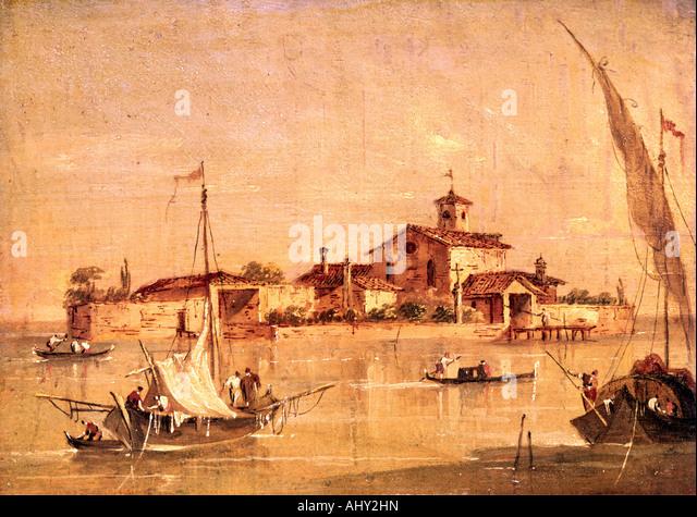 """Bildende Kunst, Guardi, Francesco, (1712-1793), Malerei, 'L' Isola di San Giorgio a Venezia"", Stockbild"