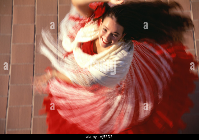 Spanische Mädchen tanzen Flamenco Wirbel Bewegung, Andalusien, Spanien. Stockbild