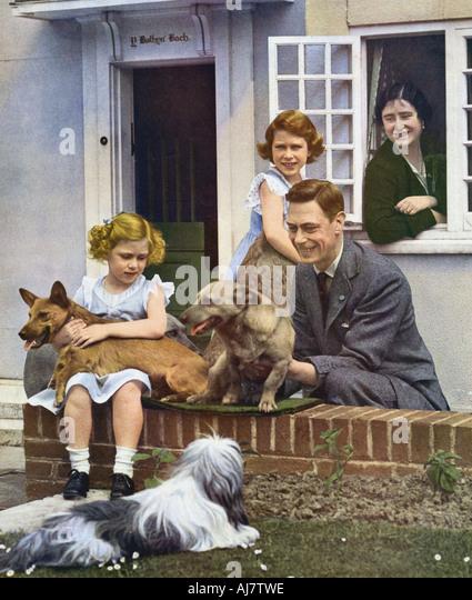 Die königliche Familie im Windsor 1930er Jahre Stockbild