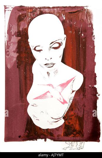 Foto von Screen print Kunstwerk basierend auf eine Schaufensterfigur Display. Künstler: Andrea Borosova. Stockbild