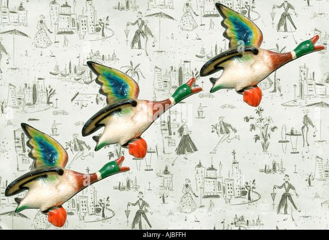 drei fliegende Enten Stockbild