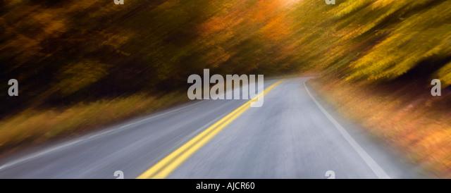 Straße durch Herbst Laub, New Hampshire, New England, USA Stockbild
