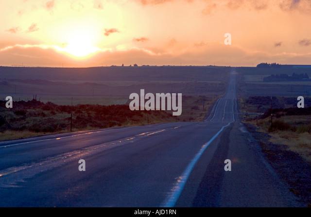Sonnenuntergang am Highway 20 in der Nähe von Idaho Falls, Idaho Stockbild