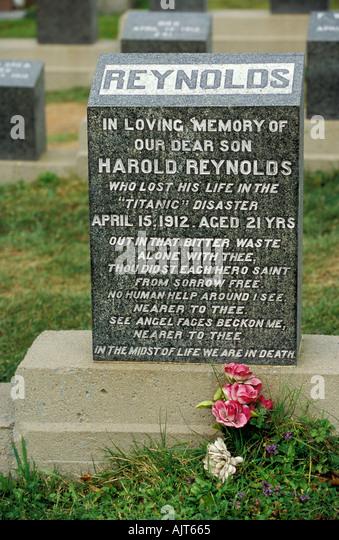 Kanada Nova Scotia Halifax Grab Stein von Harold Reynolds verlor in der Titanic-Katastrophe Stockbild