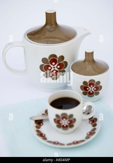 Retro-Kaffee-set Stockbild