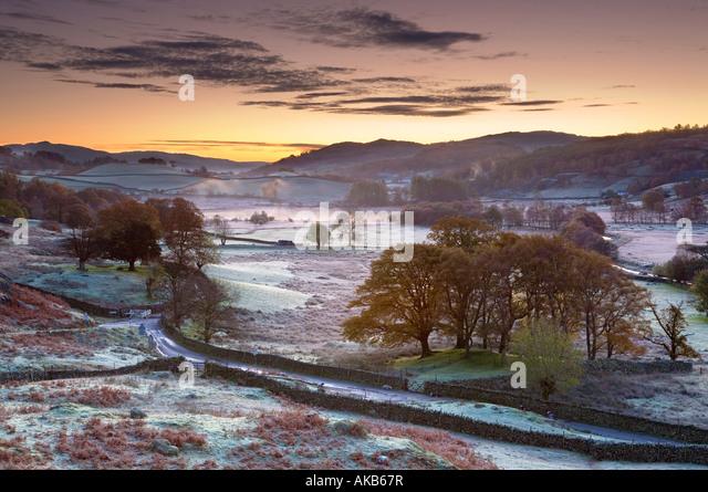Frostiger Morgen, kleine Langdale, Lake District, Cumbria, England Stockbild