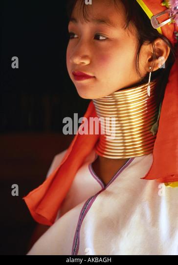 'Lang-Necked' Padaung Mädchen, Nai Soi, Mae Hong Son Provinz, Thailand Stockbild