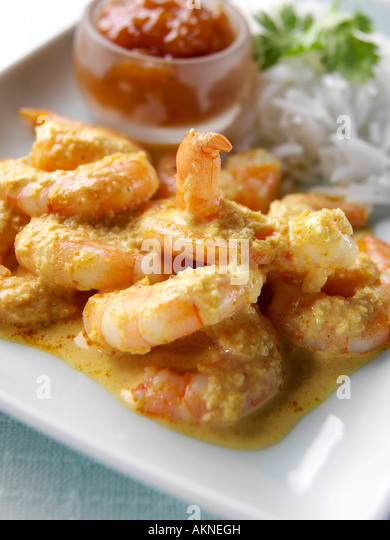 Indische würzige Garnelen und Reis Meeresfrüchte redaktionelle Essen Stockbild