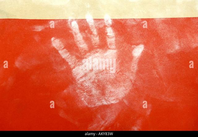 Künstlerische Gymnastik hand print Magnesia am Tresor Stockbild
