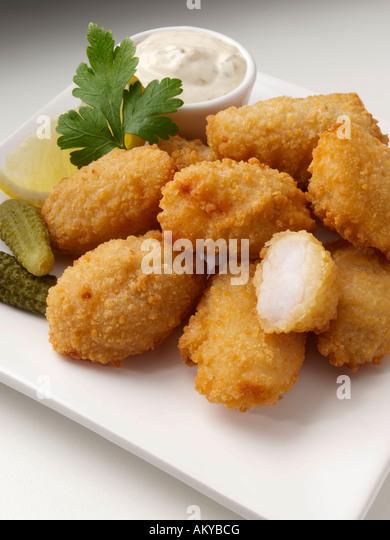 Scampi paniert Seafoods Meerrettich redaktionelle Essen Stockbild