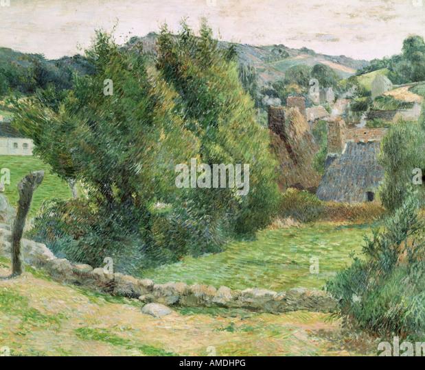 Bildende Kunst, Gauguin, Paul (1848-1903), Malerei, Landschaft am Pont-Aven, Öl auf Leinwand, Private Sammlung, Stockbild