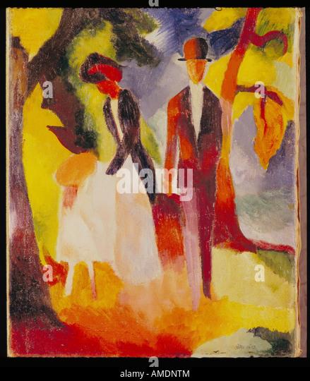 """Fine Arts, Macke, August, (3.1.1887 - 26.9.1914), Malerei,""Leute am Blauen See"",""Menschen am Stockbild"