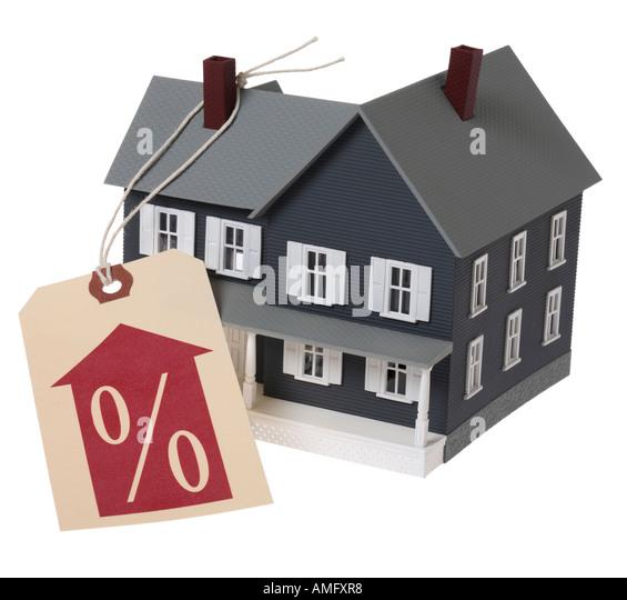 Haus mit Zins-Tag Stockbild