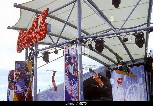 Offizieller Corporate Sponsor Coca Cola Display an der 2002 Winter Olympischen Spiele in Salt Lake City UT Stockbild