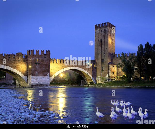 IT - VERONA: Ponte di Castel Vecchio Stockbild