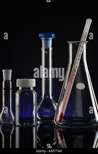 Labor-Glaswaren-Geräte hautnah Stockbild