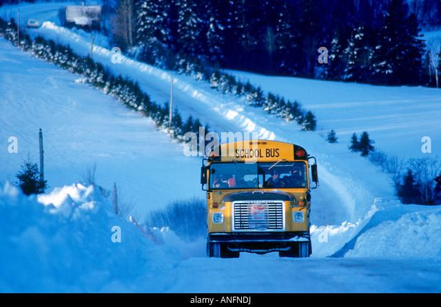Schulbus in Riverdale, Prince Edward Island, Kanada. Stockbild