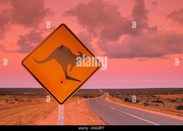 Straßenschild, Shark Bay National Park, Western Australia, Australien Stockbild