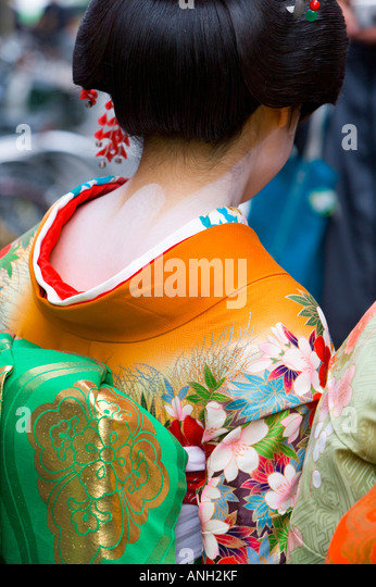 Maiko (Lehrling Geisha), Gion Bezirk, Kyoto, Japan Stockbild
