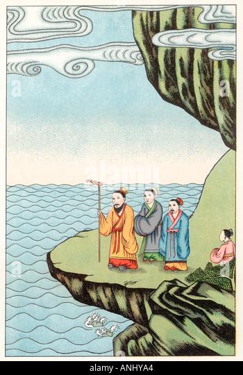 Konfuzius meditiert Stockbild