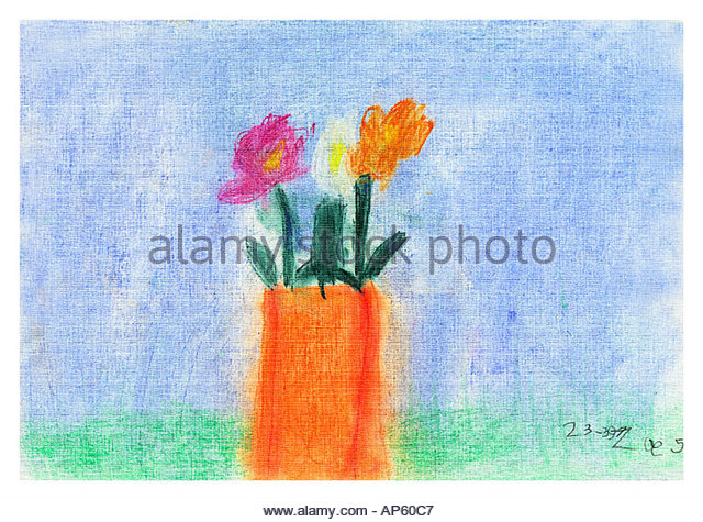Childs Abbildung von Blumen in einer vase Stockbild