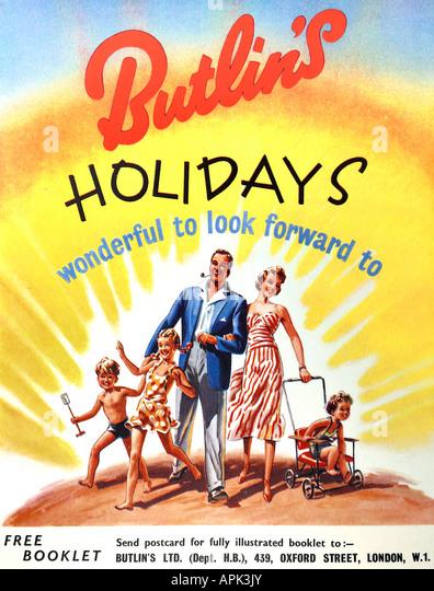 1950er Jahren Butlin Urlaub Werbung 1952 nur zu redaktionellen Zwecken Stockbild