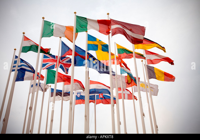 Internationale Fahnen Stockbild