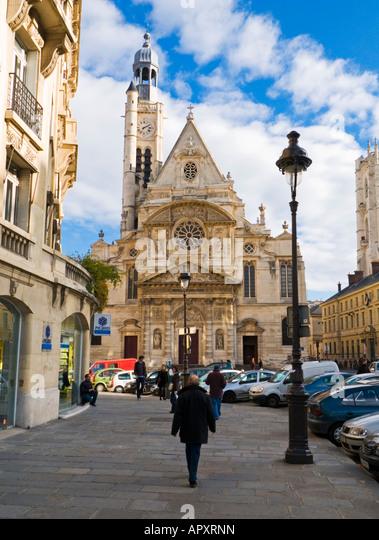 Paris Street - Eglise Saint Etienne du Mont im Quartier Latin, Paris, Frankreich, Europa Stockbild
