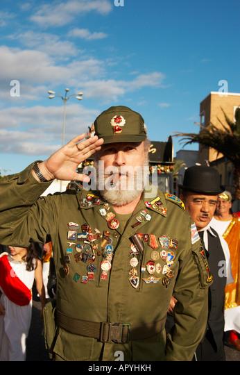 Fidel Castro bei Las Palmas Carnaval auf Gran Canaria auf den Kanarischen Inseln. Stockbild