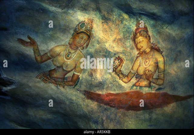 Wandmalereien in Sigiriya, Sigiriya Jungfrauen, Sigiriya, Sri Lanka, Asien Stockbild