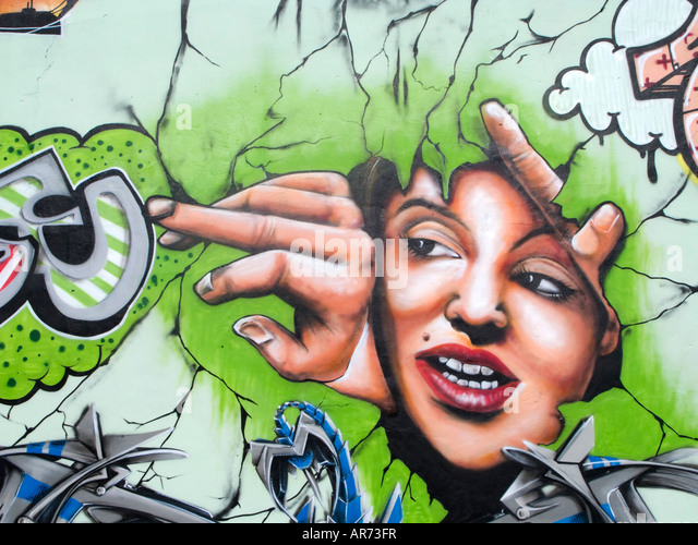 Graffiti-Wand gemalt Stockbild