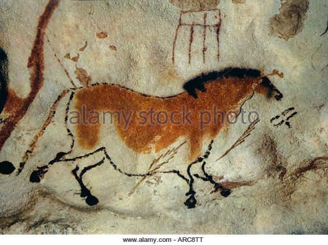 Höhle Malerei, Lascaux, Aquitaine, Frankreich Stockbild