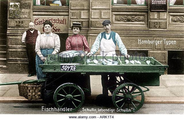 Zeichen - Fischhändler der 1920er Jahre, Hamburg, Deutschland Stockbild
