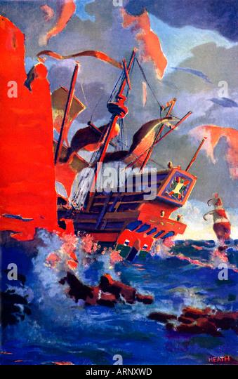 Letzter von The Armada Galeonen der 1930er Jahre jungen Comic Buchillustration des Endes der spanischen Armada im Stockbild