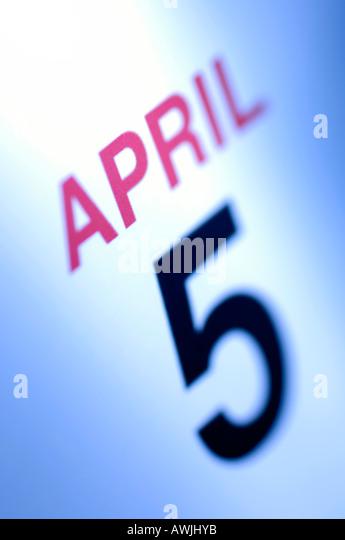 Start des britischen Steuerjahres am 5. April Stockbild