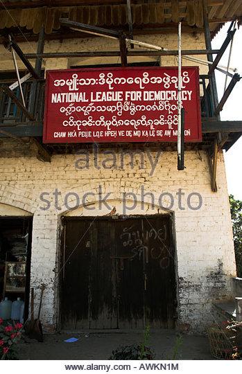 Büro von Aung San Suu Kyis Nationalliga für Demokratie, scheinbar auf unbestimmte Zeit geschlossen, in Stockbild