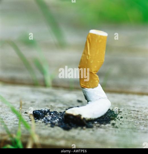 Zigarettenstummel auf Holzbrett ausgelöscht Stockbild