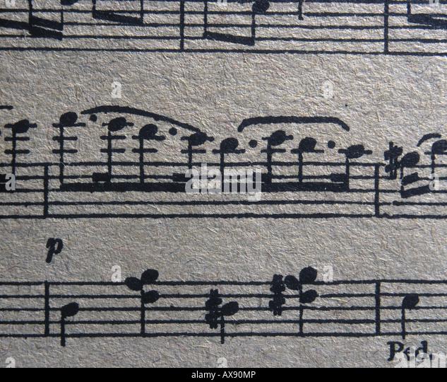 Nahaufnahme der Partitur Noten Stockbild