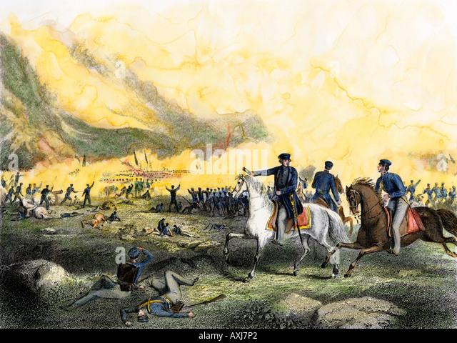 General Zachary Taylor befahl uns Truppen gegen die mexikanischen Truppen unter Santa Ana im Buena Vista 1847 - Stock-Bilder