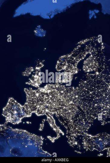 Satellitenbild der Erde Europa in der Nacht Stockbild