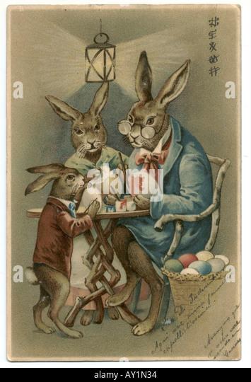 Russische Ostern Grußkarte Hase Familie Malerei Ostereier 1904 Stockbild