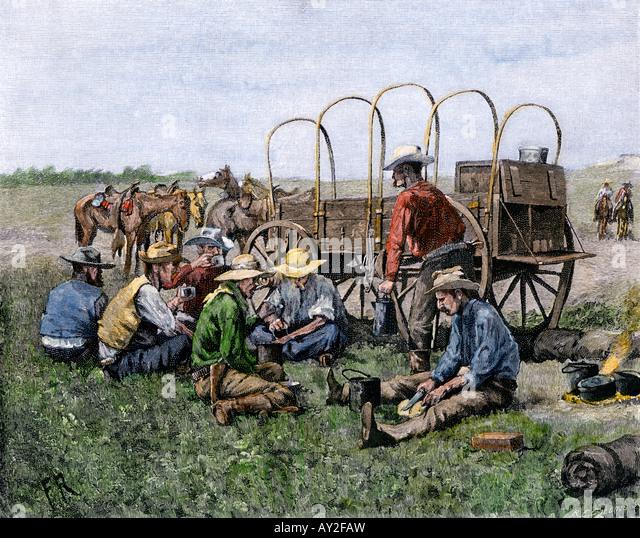 Chuck Wagon dienen Cowboys ihr Mittagessen 1800er Jahren Stockbild