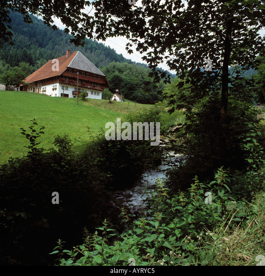 Gutachlandschaft, Schwarzwaldhaus Auf Einer Anhoehe, Gutach (Schwarzwaldbahn), Schwarzwald, Baden-Württemberg Stockbild