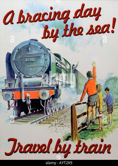 Altmodisch Reise durch Zug-Plakat Stockbild
