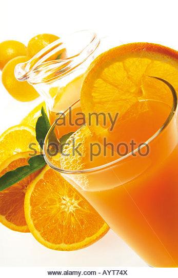 Getränk, Getränke, frisch gepresster Orangensaft, Fruchtsaft Stockbild