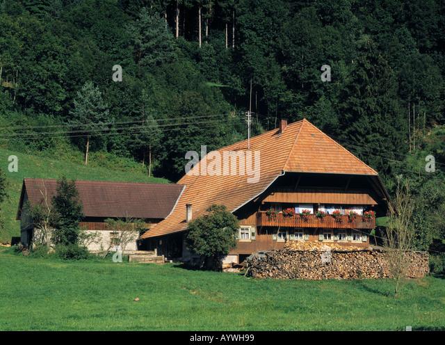 Typisches Schwarzwaldhaus in Gutach (Schwarzwaldbahn), Schwarzwald, Baden-Württemberg Stockbild