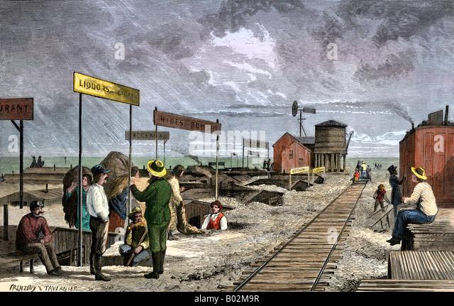 Eine unterirdische Dorf Unterstände Geschäfte entlang der transkontinentalen Eisenbahn der 1870er Jahre Stockbild