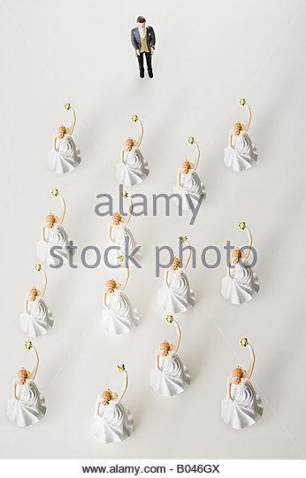Ein Bräutigam und viele Bräute Stockbild