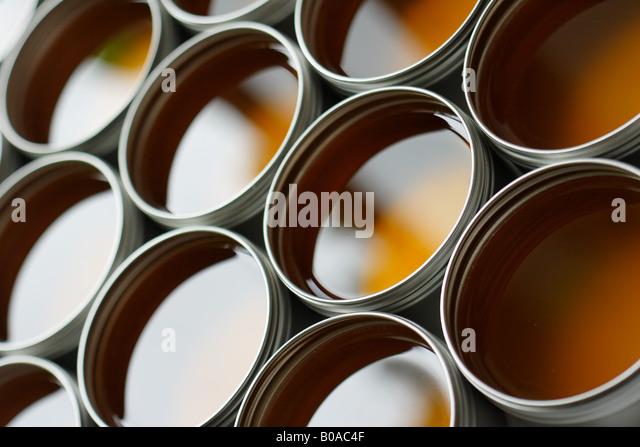 Farbdosen, close-up Stockbild